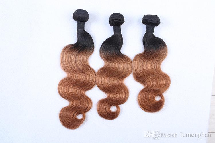 Ombre Brasileño Body Wave Hair Extension T1B / 30 3 tonos Remy 100% paquetes de cabello humano pueden comprar 3 o 4 paquetes