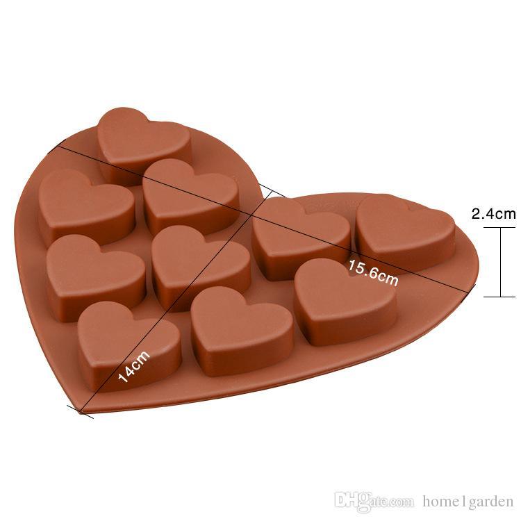 سيليكون قالب الكعكة 10 المشابك على شكل قلب الشوكولاته العفن الخبز DIY