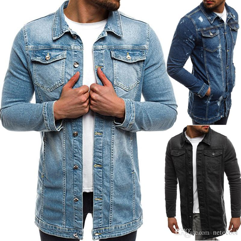 8abc12ad467 2018 Men Jackets & Coat Autumn Brand New Denim Jacket Solid Fashion Hip Pop  Casual High Quality Male Long Denim Coats For Men Plus Size Discount  Leather ...