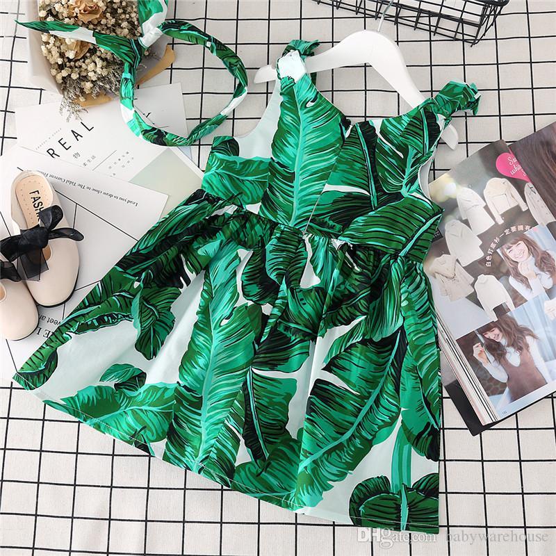 Лето девочки одежда дети жилет платье банановый лист печати девушки платья Детская одежда малыш девушки без рукавов платья с оголовьем