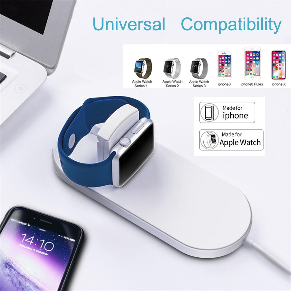pretty nice ac971 3145f Charger for Phones Fast Wireless For Apple 2 in 1 7.5W/10W Wireless Charger  2.0 for iPhone X and Apple Watch