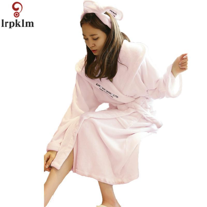 2019 Well Know Brand Women Sexy Plush Coral Fleece Hooded Long Robe Winter  Flannel Robe Ladies Bathrobe Sleepwear Lounge SY653 From Blueberry15 8d8b70017