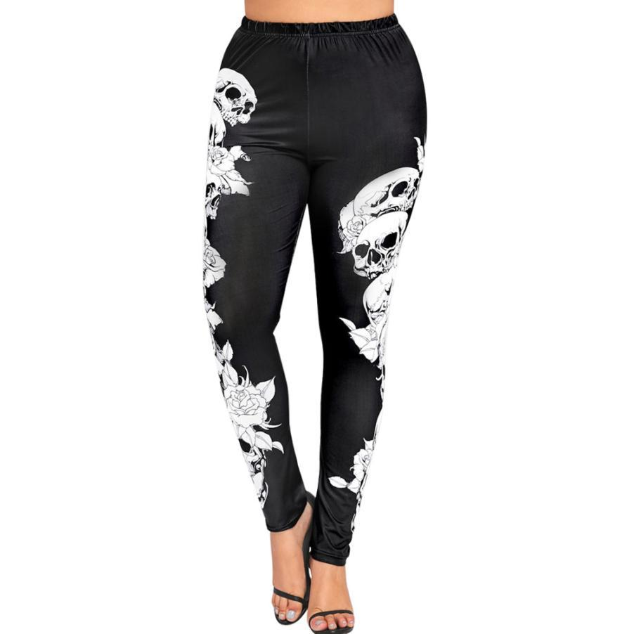 a4a1a2a86d 2019 Womail 2018 Women High Waist Yoga Sport Pants Plus Size Monochrome  Skulls Leggings Workout Running Tights Compression Trouser 15 From Hupiju