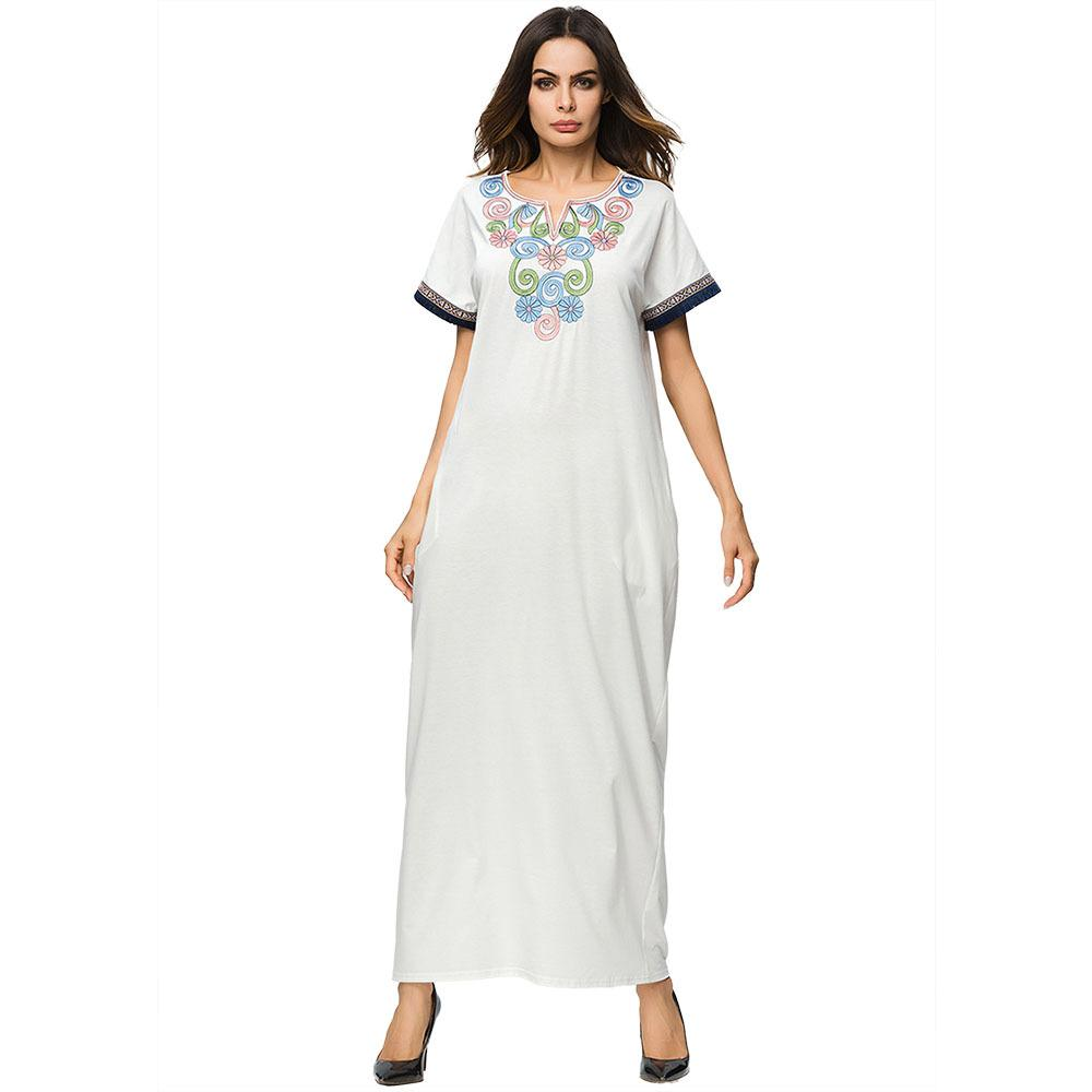 bd3d349e1abcf 3187158 Middle East Muslin Embroidered Dress Arabia Pure Color Robe Arabia  Solid Abaya Mujer Vestidos Faldas Musulman Gowns Ramadan Muslim Robes for  Women ...