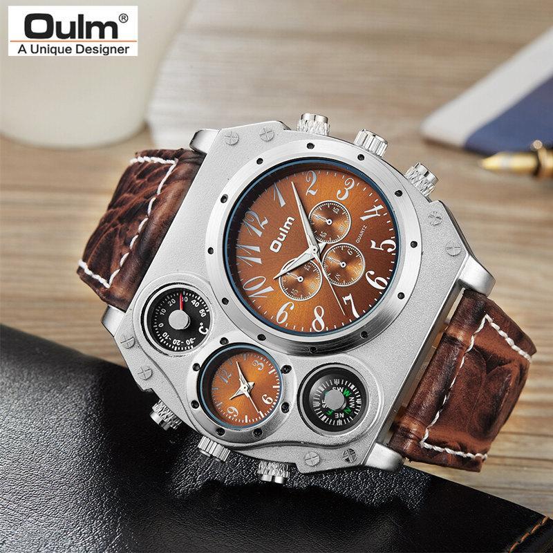 b0840c2aa99 Compre Homens Relógios De Quartzo Esportes Pulseira De Couro Multi Zona Do  Tempo Grande Rosto Relógios Moda Masculina Militar Relógio De Pulso De Moda  ...