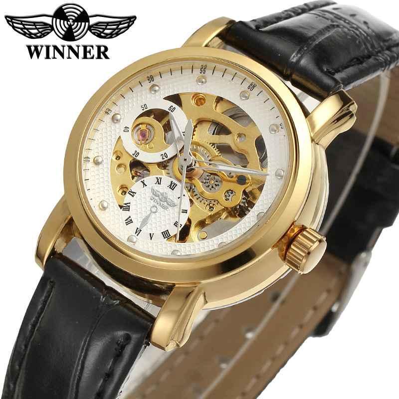 e0ff5d92aeb Compre Vencedor Mulheres Relógio Mecânico Automático Senhora Relógios Top  Marca De Luxo Clássico Moda Banda De Couro Esqueleto Feminino Relógio 0168  De ...