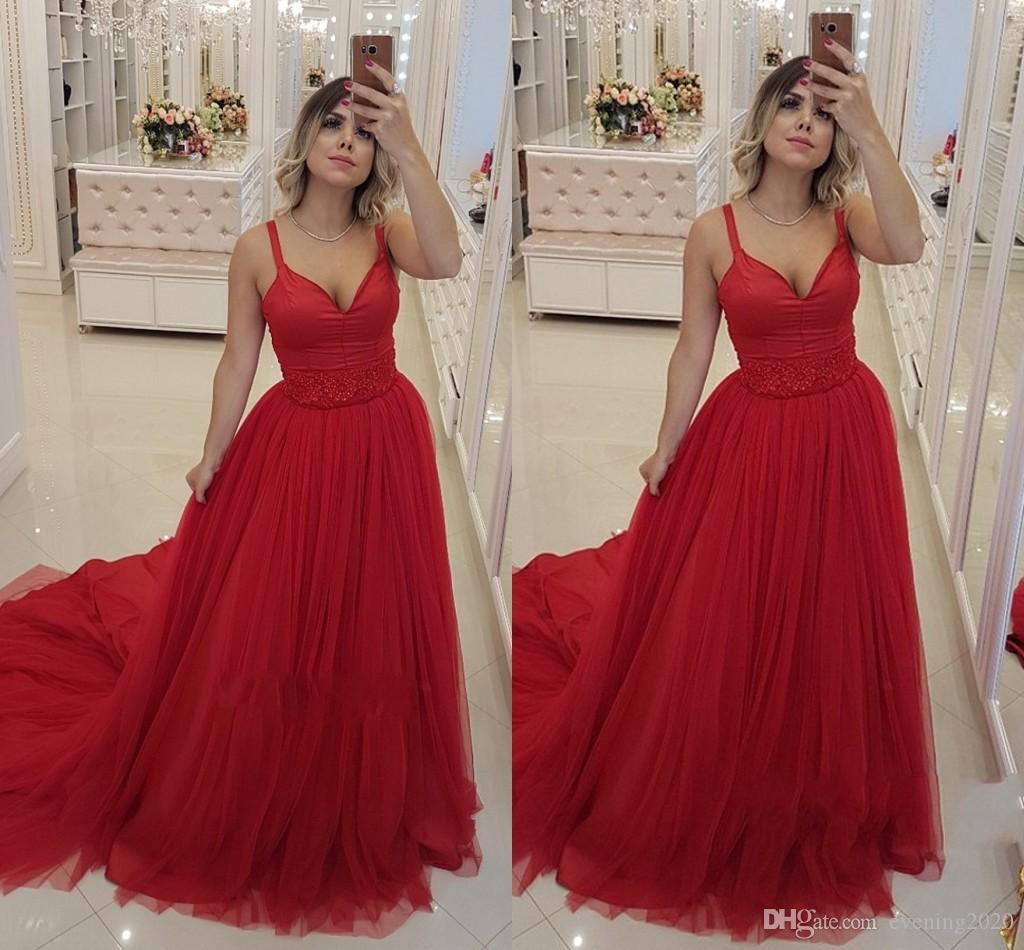 75e068b82eb0 Acquista Charme Abiti Da Sera Rossi Scollo A V Spaghetti Senza Maniche  Zipper Piano Lunghezza Tulle Prom Dresses Red Carpet Dress A  94.98 Dal  Evening2020 ...