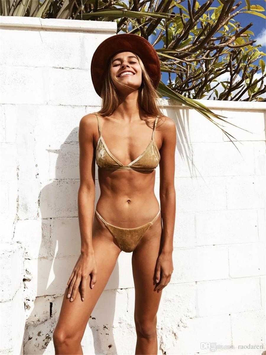 Women Swimwear 2018 Swimsuit Sexy Bikini Set Push Up Swimming Suit Beachwear Brazilian Solid Velvet High Waist With Pad Blue Pink Coffee