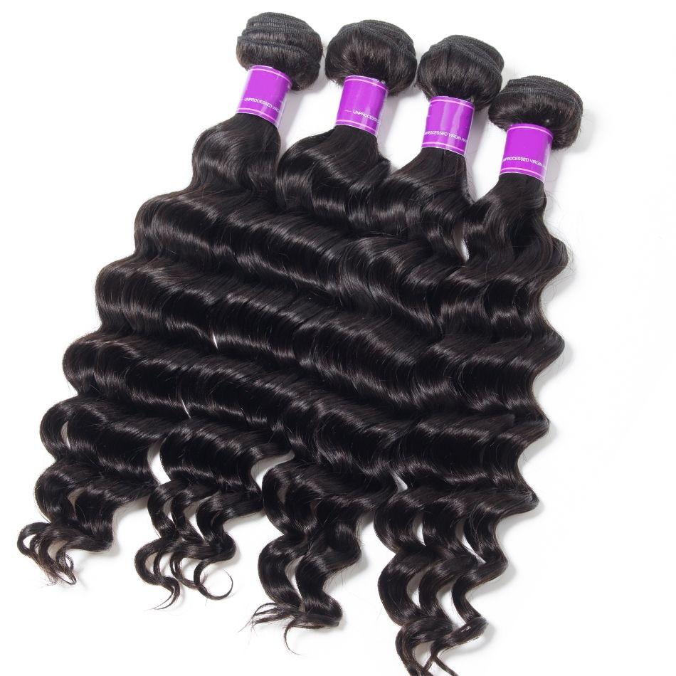 4Bundles Mink Brazilian Virgin Loose Deep Body Wave Hair 8-30 inch 100% Jet Natural Black Loose Deep Body Wave Human Hair Bundle Deals