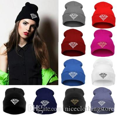 Hot Sale winter Hat Cap Beanie wool knitted men women Caps hats diamond embroidery Skullies warm Beanies Unisex free shipping