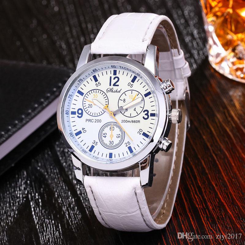 Üst Marka Moda Casual İzle Kuvars Saat Tarihi Saat Erkekler Spor Saatler erkek Deri Askeri Bilek İzle