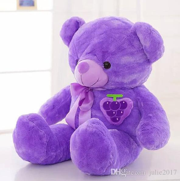 60cm New Stuffed plush Purple Bear Cloth Doll Grape Teddy bear Bowtie Sleep Pillow Cushion Animals Doll kids gift