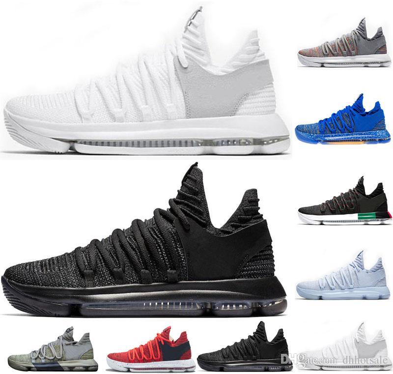 100% authentic 11040 3fa40 Acheter Vente Chaude KD 10 Hommes Chaussures De Basketball Triple Noir  Blanc Foncé Stucco Bleu Anniversaire BHM Formateurs Hommes Sport Designer  Chaussures ...