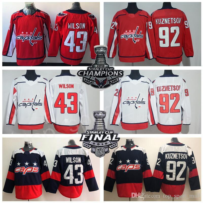 size 40 3dfc6 895ca Man Hockey Washington Capitals 43 Tom Wilson Jersey 92 Evgeny Kuznetsov  2018 Stadium Series Stanley Cup Champions Final Men Blue Red White
