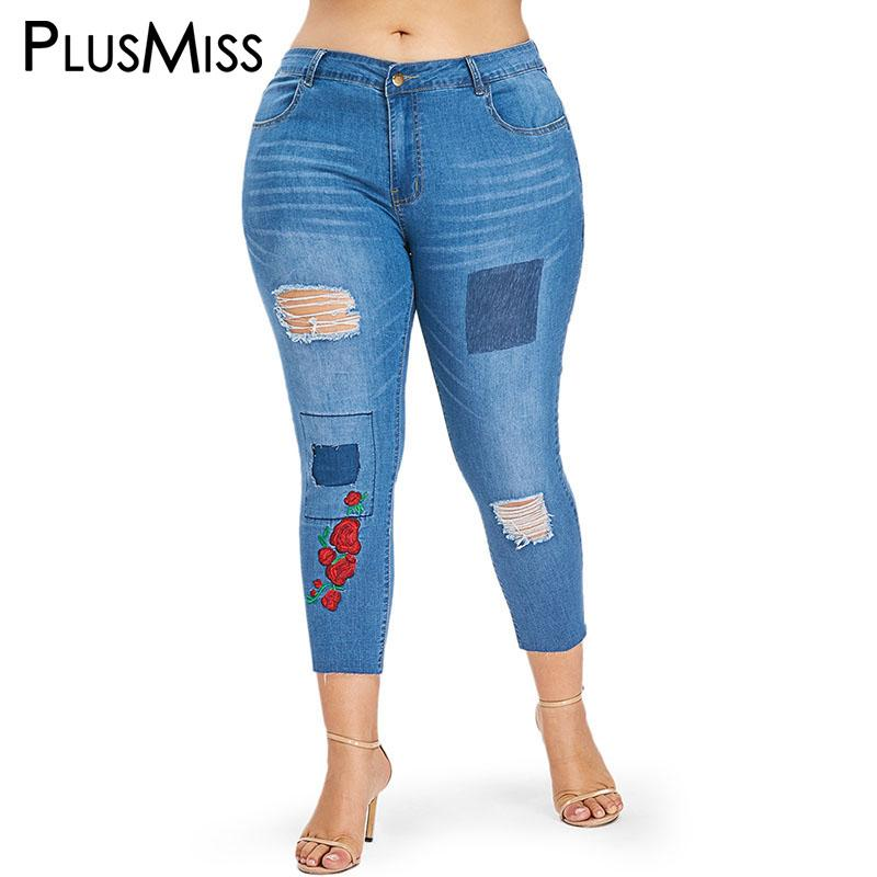 7f667379651 2019 PlusMiss Plus Size XXXL XXL Skinny Ripped Embroidered Ankle Jeans  Capris Mom Hole Distressed Cropped Denim Pants Women Big Size From  Yujian18