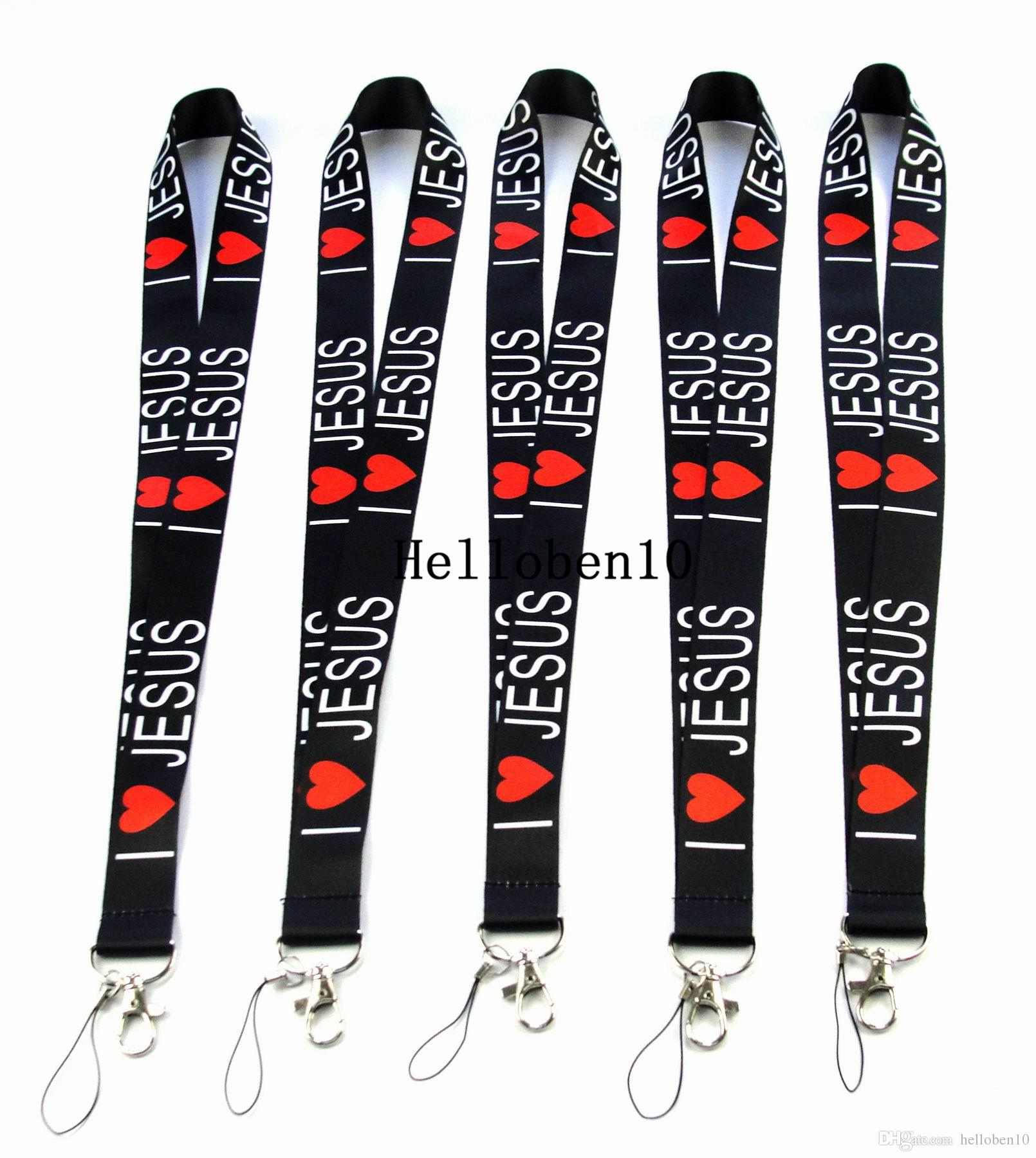 New! I love Jesus Phone Lanyard For Mobile ID Holder Keychain