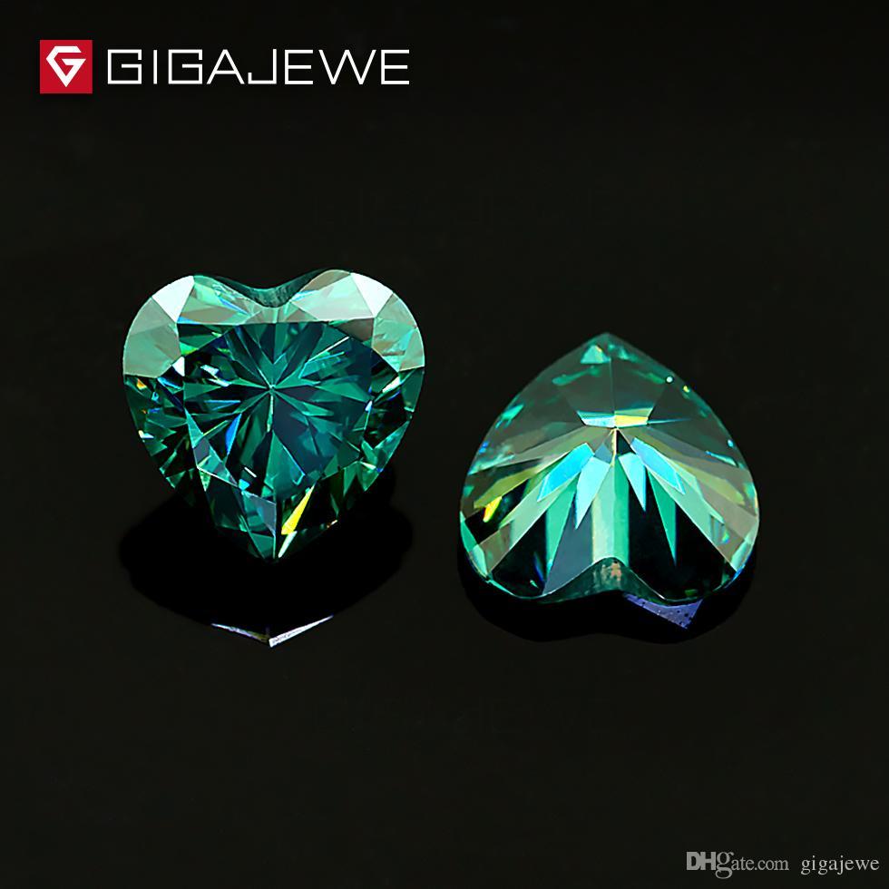 Acquista Gigajewe Cuore Taglio Colore Verde Scuro Pietra Moissanite