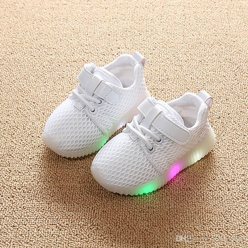 Children LED Breathable Mesh Casual Shoes Baby Lovely Lace-up First Walkers Toddler Shoes Baby Newborn Shoes B0070