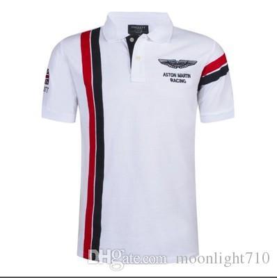 58e97350b0 Compre Verão Quente Em Espanha Moda Esporte Camisa Polo Homens ASTON MARTIN  RACING 100% Algodão Polos Camisas Vermelho Branco De Moonlight710