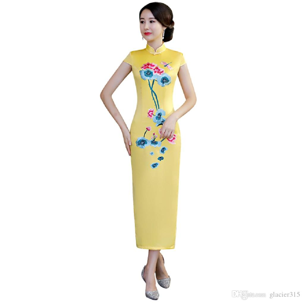 59368f578 Shanghai Story 2019 New Sale Top Quality Long Qipao Dress With Lining Chinese  Dress Floral Cheongsam Qipao Dress For Women Cheongsam Men Cheongsam Plus  Size ...