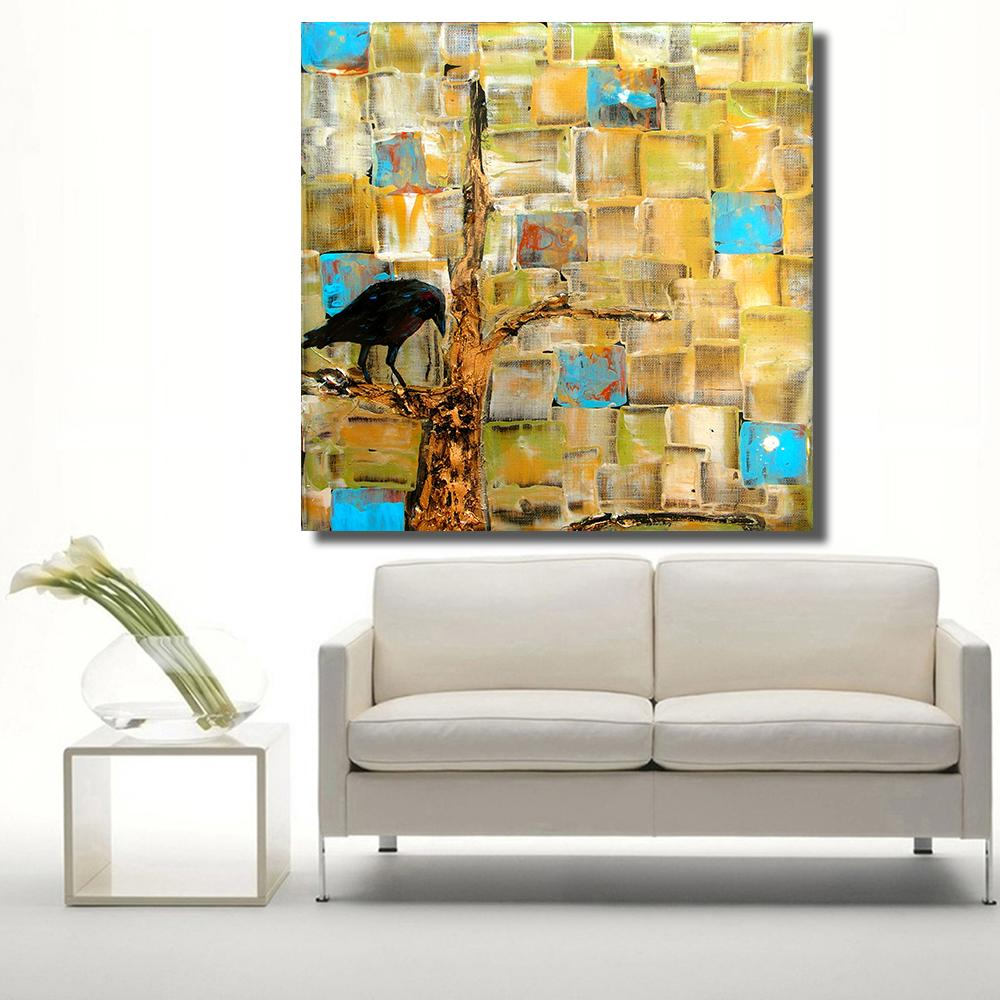 Wall Decor Artwork Painting Pop Art Crow Tree Oil Painting on Canvas Wall Pictures for Living Room Poster Home Decor No Framed