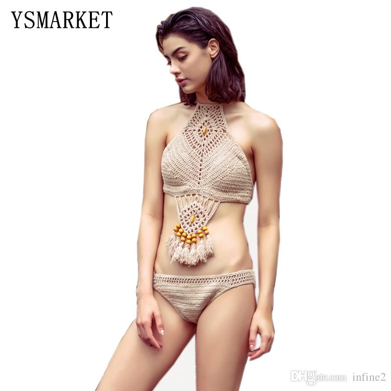 99ab8e699a8 2019 YSMARKET Women Sexy Brazilian Handmade Crochet Bikini Beachwear  Vintage Halter Hollow Out Knitted Fringed Bathing Suit E1608 From Infine2,  ...