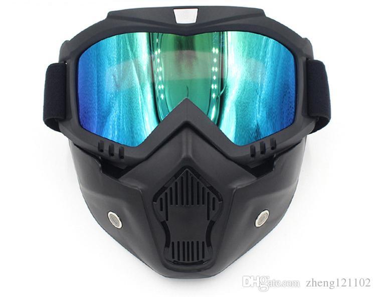 18 Nueva moto de esquí motocicleta mascarilla Gafas Motocross Moto Motor Cara abierta Gafas desmontables Cascos Gafas Vintage Universal
