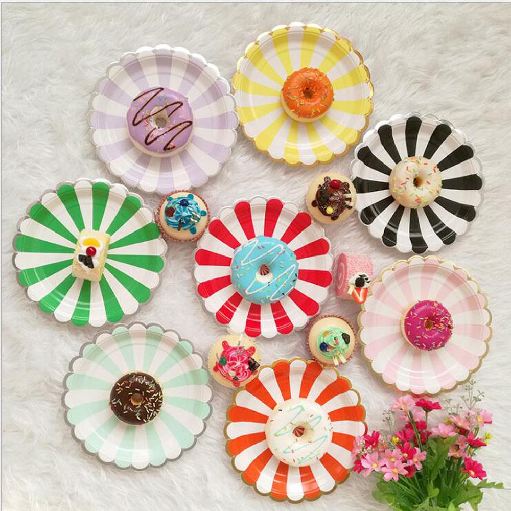 2018 Round Stripe Disposable Plates Cutlery Decorative Paper Plates For Wedding Party Decor Paper From Sheiler $20.19 | Dhgate.Com  sc 1 st  DHgate.com & 2018 Round Stripe Disposable Plates Cutlery Decorative Paper Plates ...