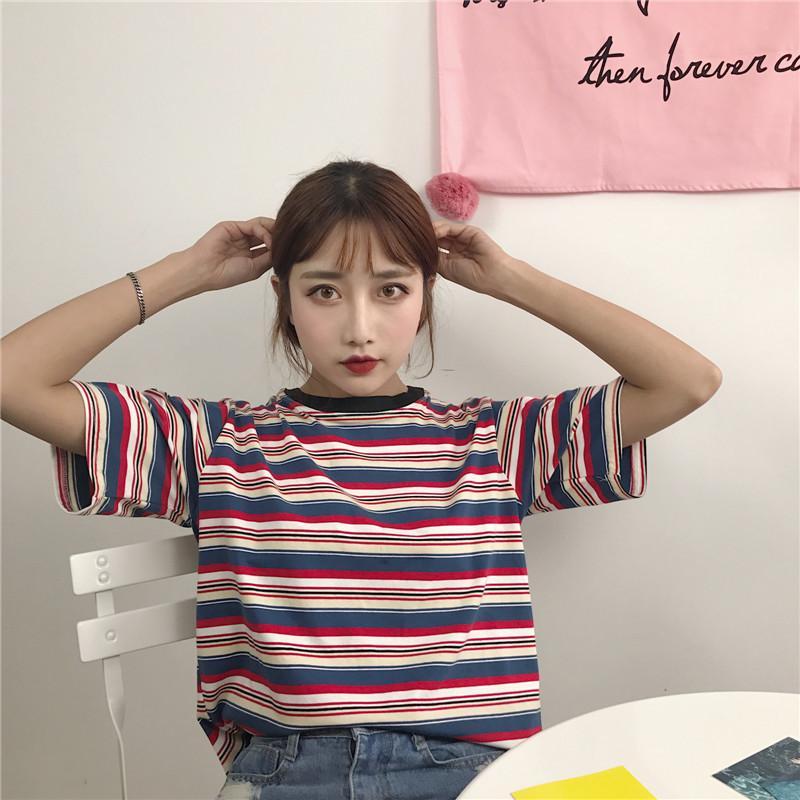 2feea226fdcc T Shirt Femme 2018 Summer Womens Clothing Korean Style Ulzzang Harajuku  Striped Short Sleeve Tshirt Women T Shirts Female Top Y1891307 Cool Shirt  Designs T ...
