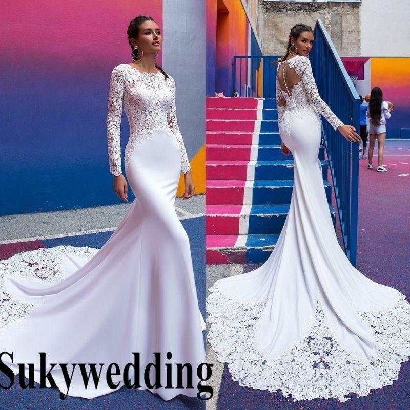 Cheap Modest Satin Long Sleeve Wedding Dress Discount Short White Silk Wedding  Dresses 23f2e52b4