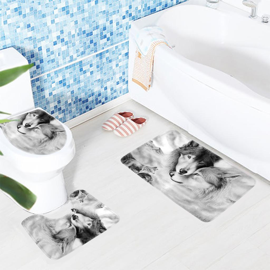 2018 Bathroom Rug Set Wolf Couple Pattern Bath Mat Anti Slip Shower Mat And  Toilet Sets From Periwinkle, $23.91 | Dhgate.Com