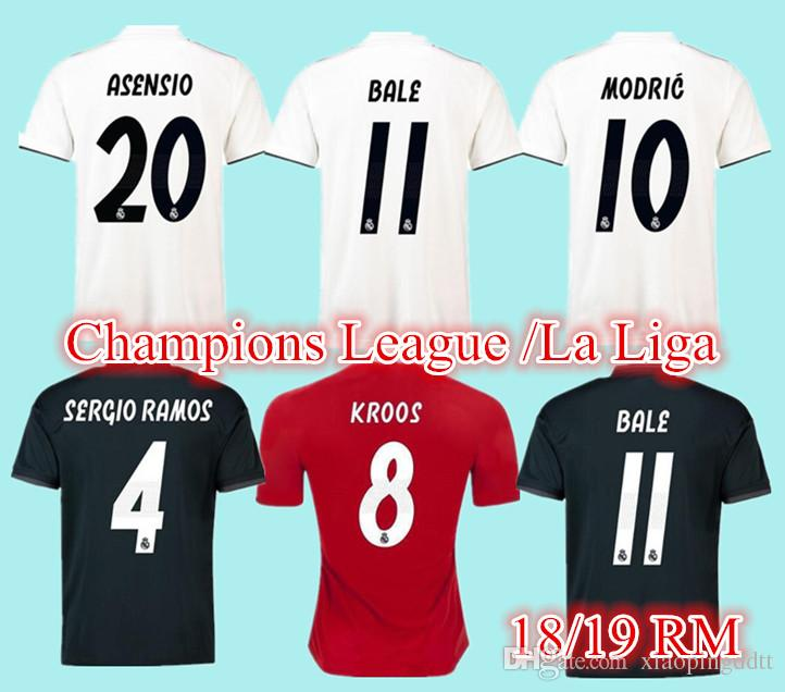 2019 2019 Real Madrid Soccer Jersey 18 19 HAZARD ASENSIO MODRIC Home Away  Black BALE RAMOS ISCO KROOS MODRIC Champions League Patches Shirts. From ... 284c68195