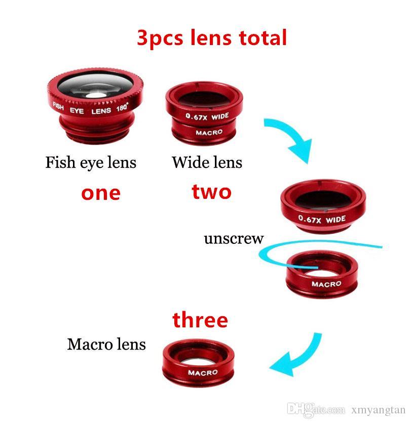 Fischaugen-Objektiv 3 in 1 Handyobjektive Fischauge + Weitwinkel + Makrokameraobjektiv für iPhone 7 6s plus 5s / 5 xiaomi huawei samsung