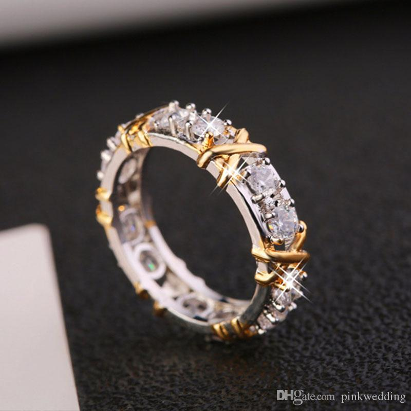 1bfacac44d Fashion Creative Wedding Rings Gold And Silver Plated Ring Zircon ...