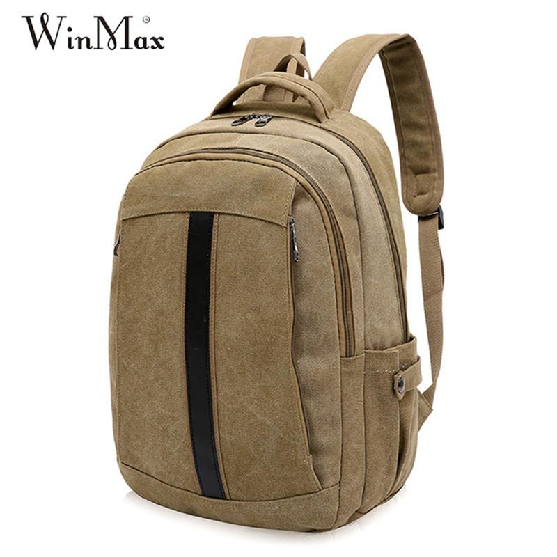 af5bd3029e87 Winmax Stylish Male Canvas Travel Large Capacity Backpack Men Women Vintage  Casual Computer Backpacking Functional Versatile Bag Backpacks For Girls ...