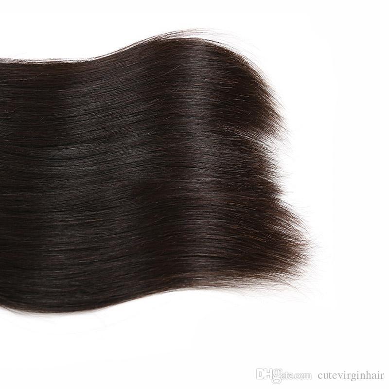 Recta brasileña 3 paquetes con 13x4 encaje frontal natural rayita sin procesar Brasileño de la Virgen del pelo humano teje extensión color natural