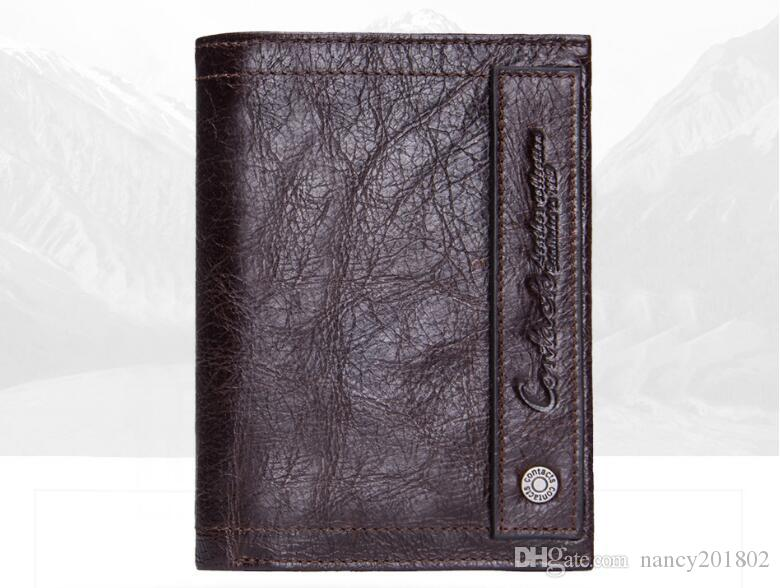 2018 new Genuine Leather Men Wallet Short Coin Purse Small Vintage Wallets Brand High Quality Cow Leather Male Wallet