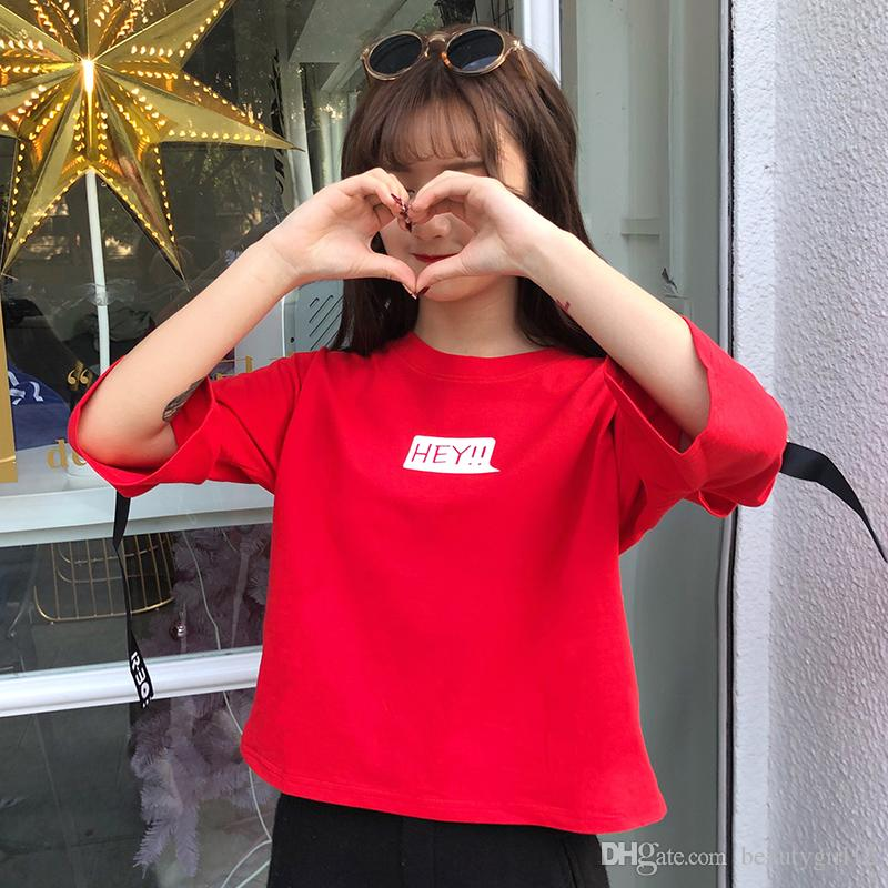 Pure cotton ladies summer wear short - sleeve letter printing fashion short T