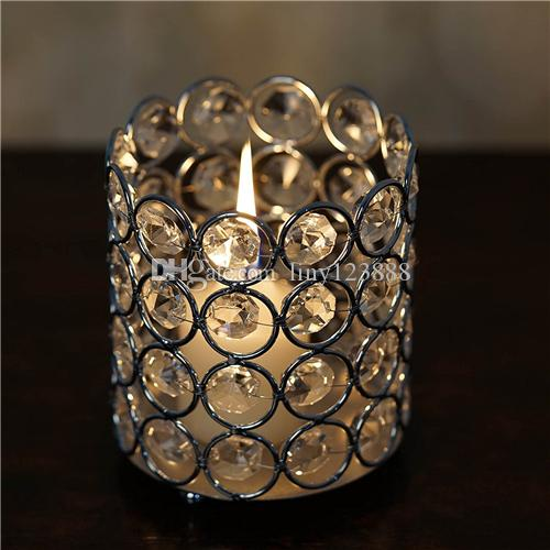 """Crystal beaded Cylinder Votive Tealight Wedding Crystal Candle Holder -silver 2.75 """"Tall or 3.5"""" Tall"""