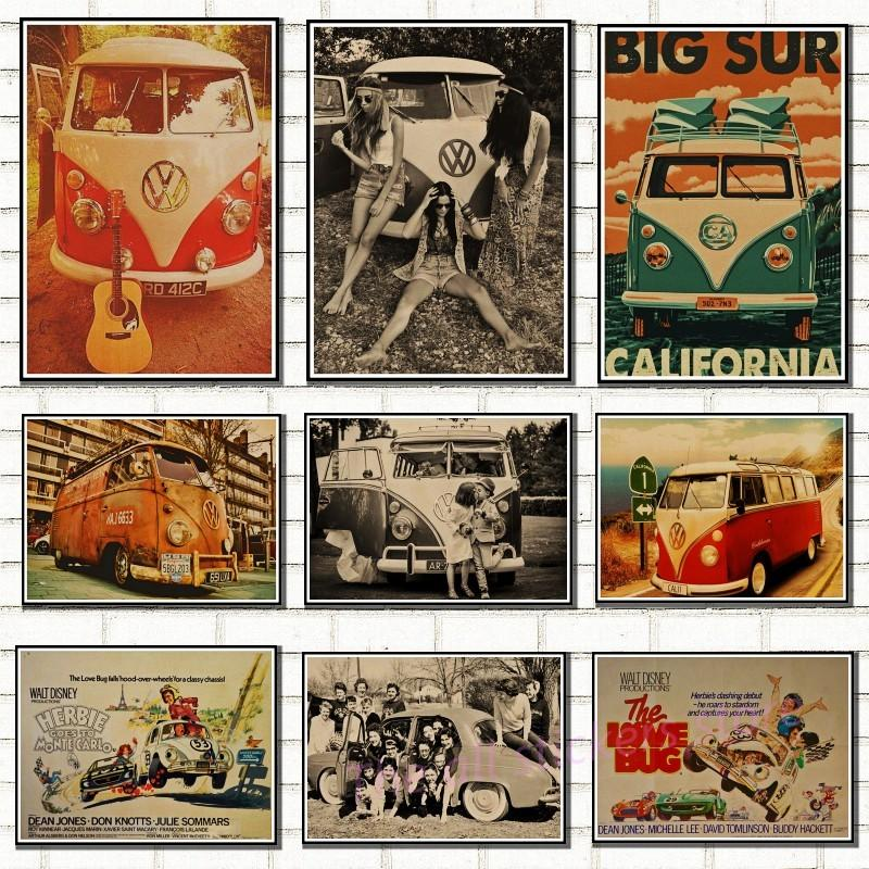 Car VW classic cars Vintage Poster kraft paper VW Type Mini Bus poster wall  stickers home decor retro car poster/5079