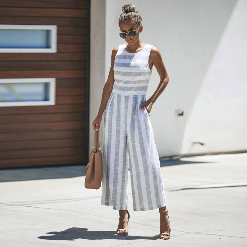 8e7f7da172de 2019 Wholesale Women Sleeveless Striped Jumpsuit Casual Sleeveless O Neck  Clubwear Office Work Rompers Cut Out Wide Leg Pants Playsuits From  Bclothes002