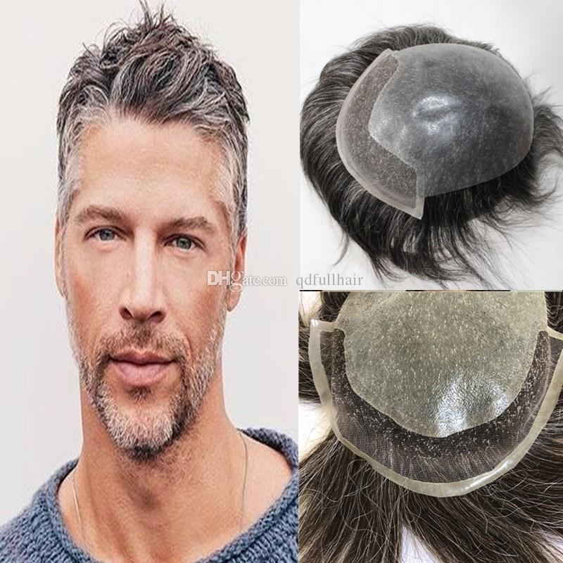 Mix Grey Human Hair Mens Toupee Lace Front with Pu Back For Men Hairpieces Replacement System Natural Hair Men Pu Toupee