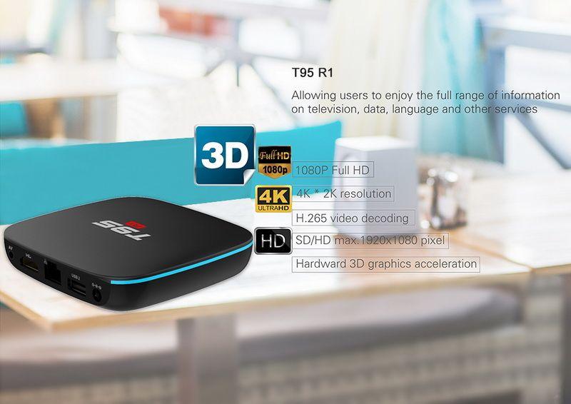 Android 7.1 TV BOX 1GB 8GB Amlogic S905W Quad Core Suppot 2.4GHz WiFi Media Player IPTV Box T95 R1 1GB 8GB