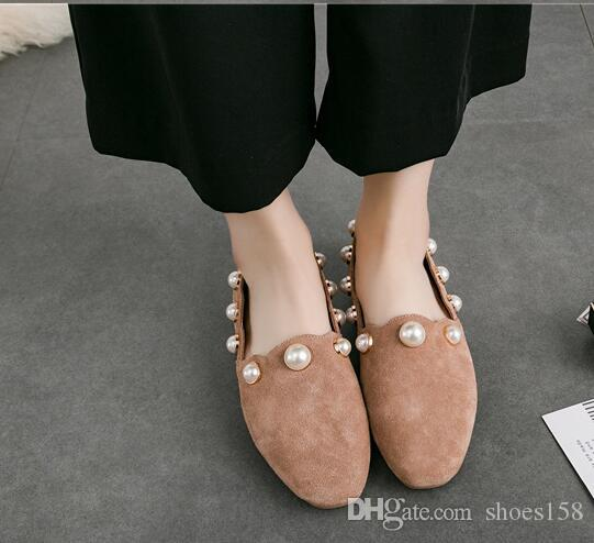 Women's shoes New Genuine Leather pearl Square head flat Shallow mouth Pedal Comfortable Pure color Set foot Women's shoes