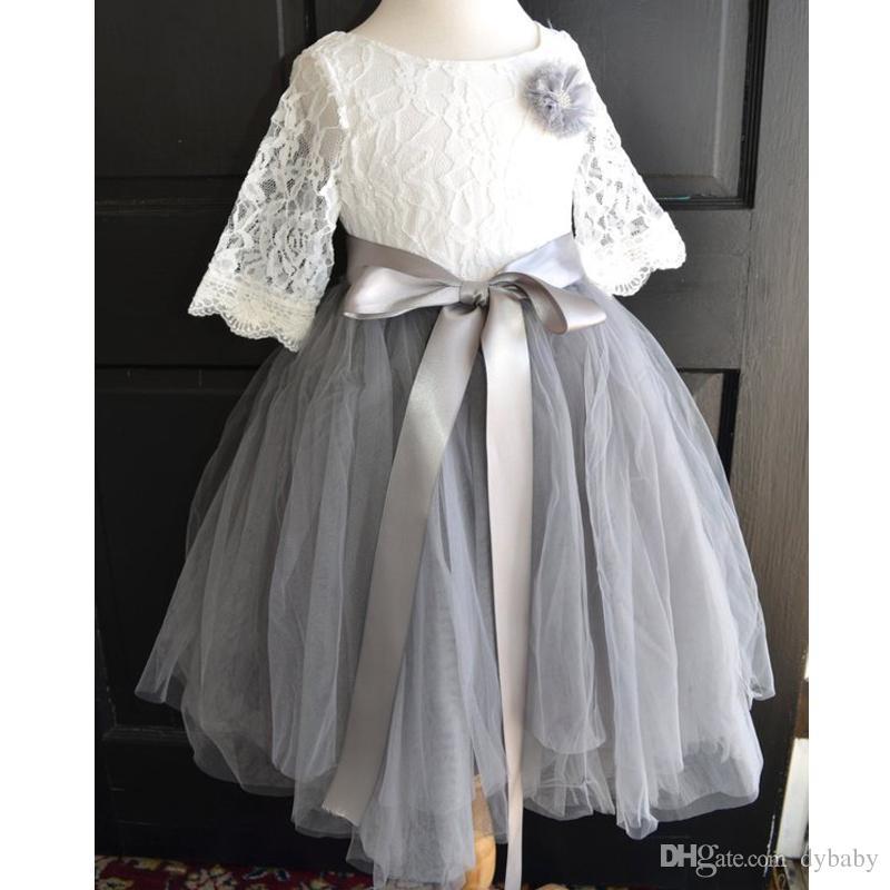 lace grey girls dress kids wedding dresses 2018 cheap plus size flower girl  dress