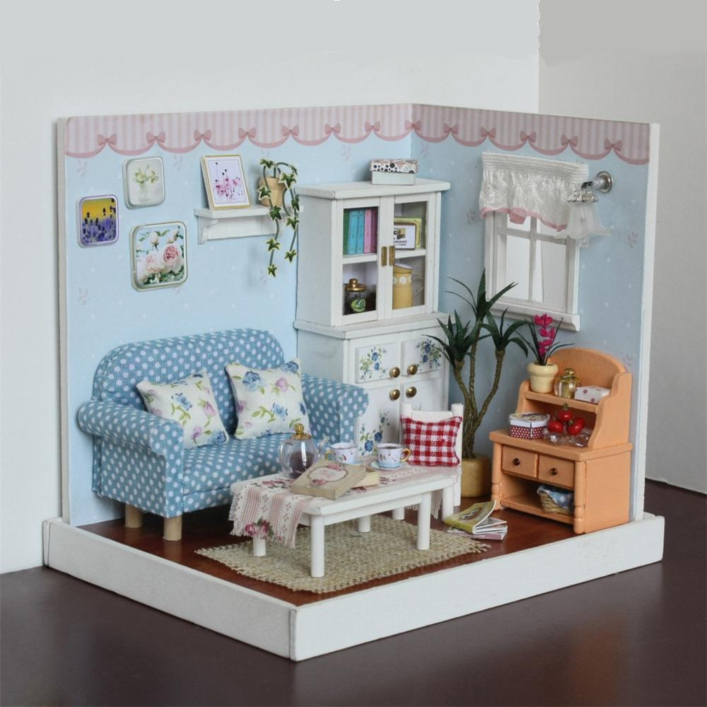 Good Diy Dollhouse Dolls House Wooden Assembly Puzzle Toys Furniture Toy Pretend  Play Toy Household Birthday Gifts For Girls Children Collectors Doll Houses  ...