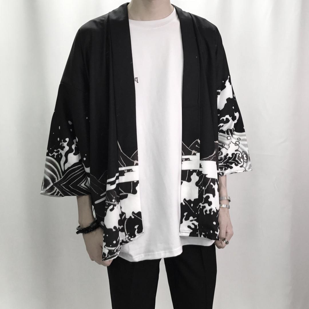 Acquista Mens Kimono Giapponese Abbigliamento Streetwear Casual Uomo Kimono  Giacche Harajuku Stile Giappone Cardigan Outwear A  37.49 Dal Cutee  65ee4d05a9c