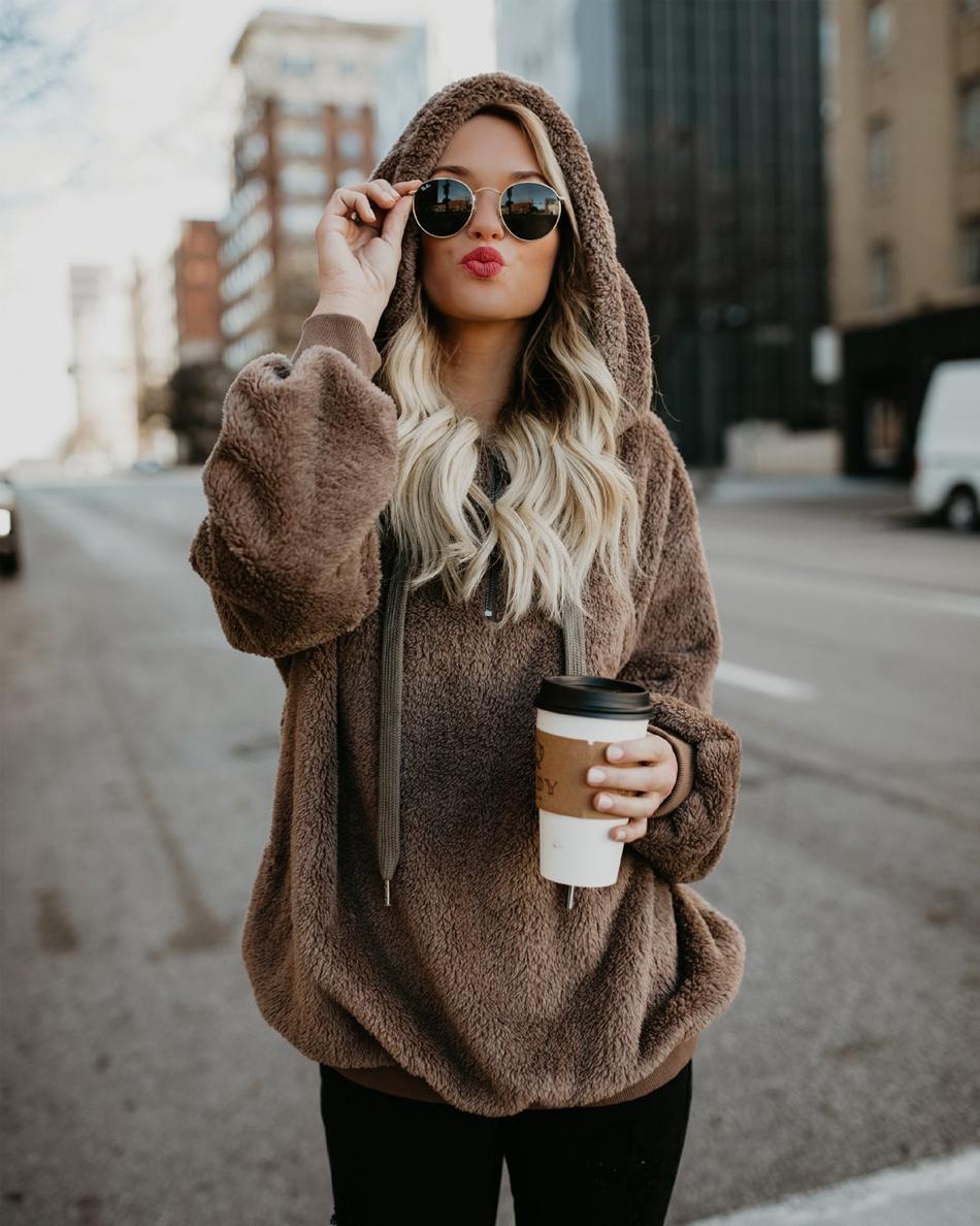 Frauen Winter Plüsch Sweatshirt Hoodie Lose Nette Mit Kapuze Taschen Herbst Mädchen Hoodies Fleece Mantel Pelzigen Sweatshirt OOA4230