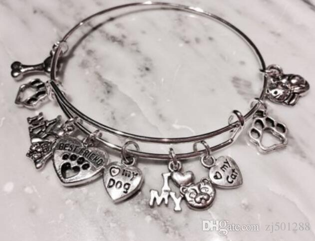 Vintage Silver Dog Paw Print I Love My Cat Dog Bones Heart Charm Cuff Wedding Bangles Expandable Wire Bracelets For Women Jewelry NEW