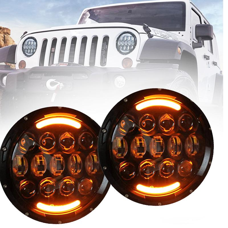 2007-2016 Jeep Wrangler JK JKU 7'' Round LED Headlight DRL + Front Turn Signal Indicator Lights Pack of 4